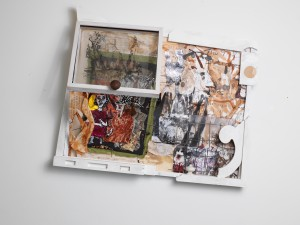 A layered reality Lee Goller 2015 Assemblage: Polystyrene, collaged fabric, paper, wire, laser prints, drawing and objects 100cm x 85cm