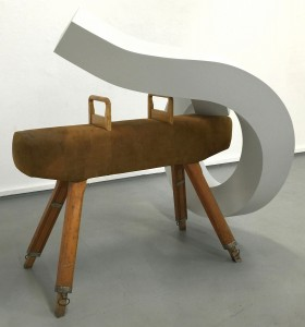 Industrial pommel Martin George 2015 Painted steel and pommel horse 3 x 1.5 x 1.3m