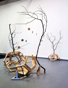 Untitled (from Growth) Shaun-Joel Liew 2015 Untreated pine, zinc hinges, branches, thread, plywood, synthetic polymer paint, steel wool and vinegar